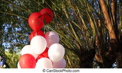 white and red baloons green on background.