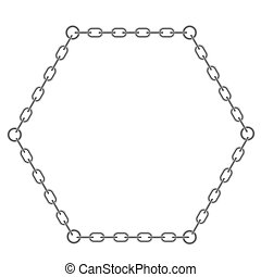 Grey Chain Frame - Chain Triangle Frame Isolated on White...
