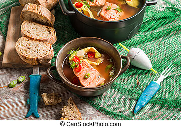 Fish soup made of freshly caught salmon