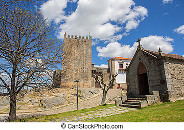 Belmonte castle and chaple. Historic village of Portugal,...