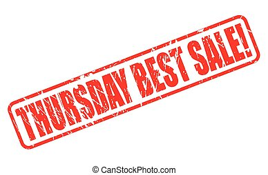 THURSDAY BEST SALE red stamp text on white