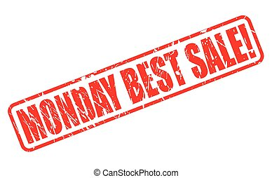 MONDAY BEST SALE red stamp text on white