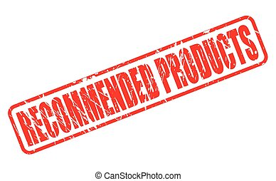 RECOMMENDED PRODUCTS red stamp text on white