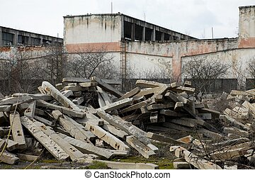 Ruins - Remains of an old, ruined warehouse building