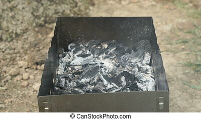 Cooking of grilled sausages on coals on the grill - Cooking...