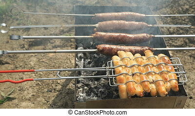 Meat sausage for barbecue for frying on the grill