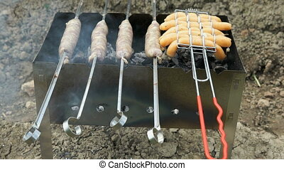 Meat sausage for barbecue for frying on the grill on hot...