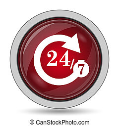 24/7 icon. Internet button on white background.