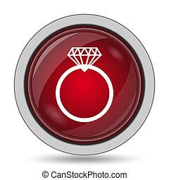 Diamond ring icon Internet button on white background