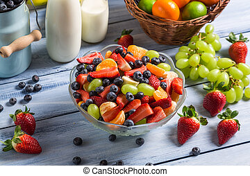 Preparing a healthy fruit salad