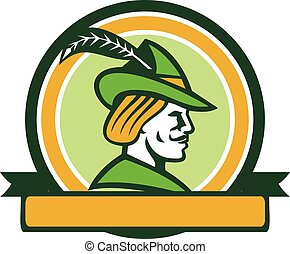 Robin Hood Side Ribbon Circle Retro