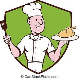 Chef Cook Roast Chicken Spatula Crest Cartoon