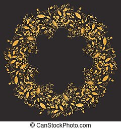 Circle gold floral frame in doodle style
