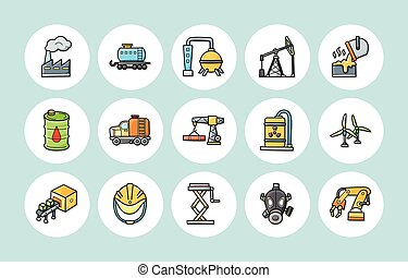 Industry and factory icons set,eps10