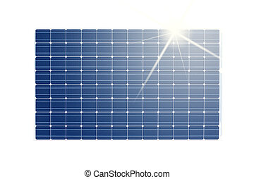 isolated solar panel - solar panel isolated against white...