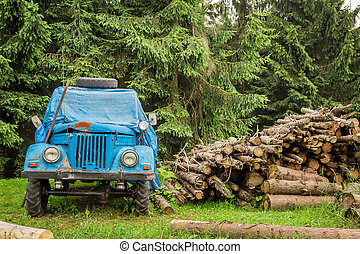 Old blue car in the mountains near the forest
