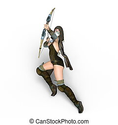 Female master archer - 3D CG rendering of a female master...