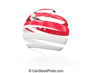 Flag of singapore, round icon isolated on white 3D...