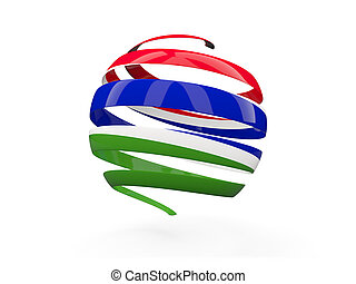 Flag of gambia, round icon isolated on white 3D illustration...