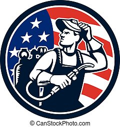 Welder Looking Side USA Flag Circle Retro - Illustration of...