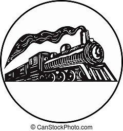 Steam Train Locomotive Coming Up Circle Woodcut