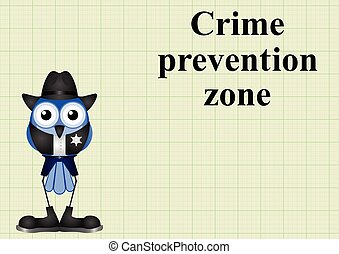 Crime prevention zone USA with sheriff on graph paper...