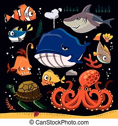 Funny marine life collection