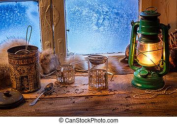 surgelé, petite maison, hiver, jour