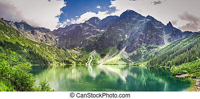 View of a lake in the mountains