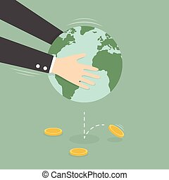Man Taking Money Out of Globe. Business Concept Cartoon...