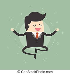 Meditating Businessman. Business Concept Cartoon...