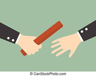 Businessman's Hand Passing a Relay Baton. Partnership or...