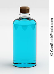 Rubbing Alcohol or Ethanol Isolated on White, 3D Rendering -...