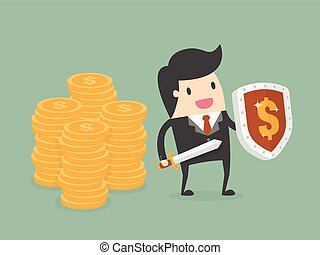 Businessman Protecting Money With Shield And Sword. Business...