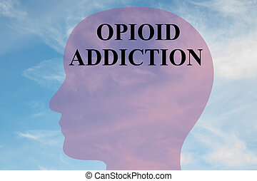 Opioid Addiction concept - Render illustration of 'OPIOID...