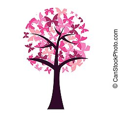 butterfly silhouette pink isolated icon vector illustration...