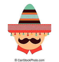 mexican man character icon vector illustration icon