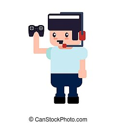 control boy pixel video game play icon Vector graphic -...