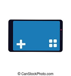 control smartphone pixel video game play icon Vector graphic...