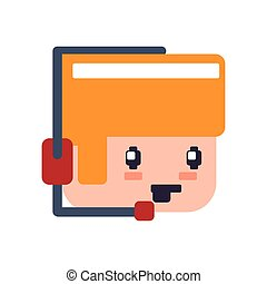 headphone boy pixel video game play icon Vector graphic -...