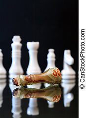 Overthrow Concept On Dark - Chess Queen made from Onyx lying...
