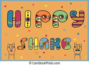 Hippy Shake. Artistic font - Inscription Hippy Shake....