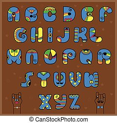 Artistic blue and yellow alphabet. Brown background. Cartoon...
