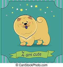 Happy Dog Chow-chow. Yellow cartoon puppy. Greeting vard...