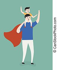 Super Dad Carrying His Son On Shoulders. Lifestyle Cartoon...