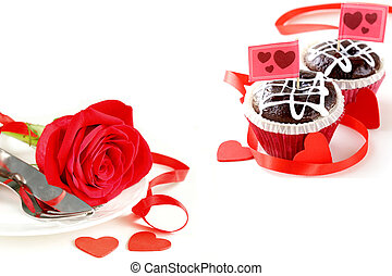 cupcake, roses and table setting for Valentines Day
