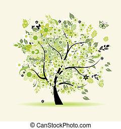floral, árvore, bonito