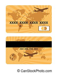 Bank card design, world travel