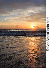 beautiful sunrise dramatic sky with colorful cloud on sea