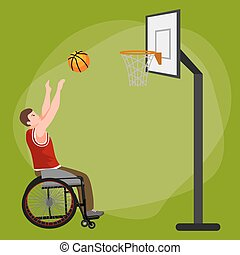 Disabled people On Wheelchair Play basketball for handicapped, disability sport
